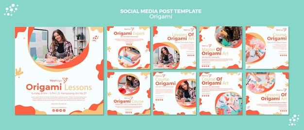 Postagem em mídia social de origami