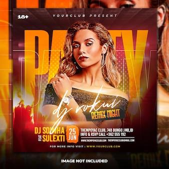 Postagem em mídia social de panfleto de festa de dj e modelo de banner na web