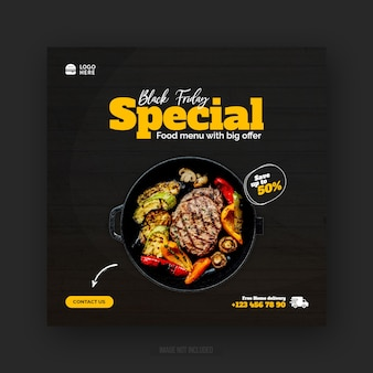 Postagem em mídia social de promoção de menu especial de comida black friday ou modelo de banner da web