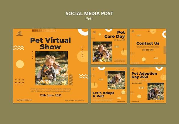 Postagem em mídia social de show virtual de animais