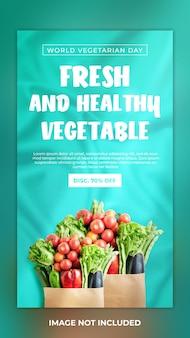 Postagem em mídia social de vegetais frescos e saudáveis e história no instagram