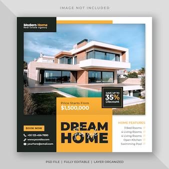 Postagem em mídia social de venda de casa imobiliária ou modelo de banner web quadrado