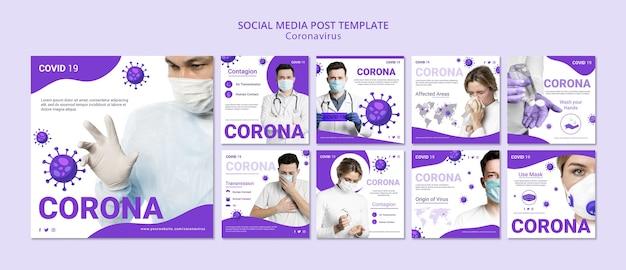 Postagem em mídia social do coronavírus