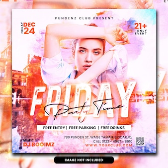 Postagem em mídia social do folheto da festa do dj do clube psd