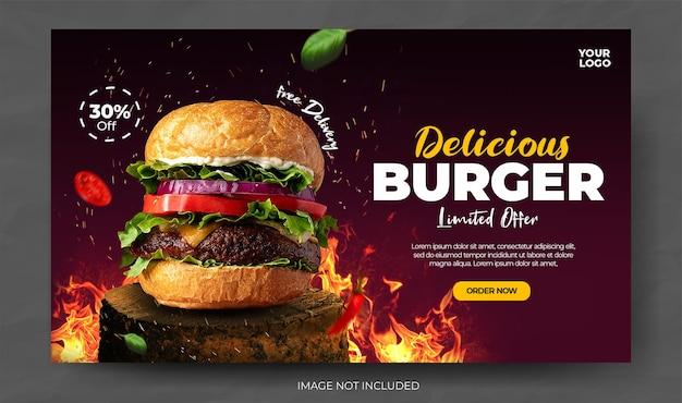 Postagem em mídia social do menu de comida em banner de restaurante