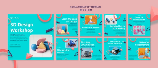 Postagem em mídia social do workshop de design 3d