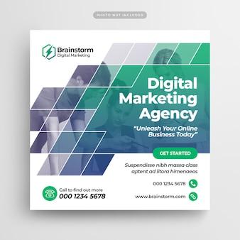 Postagem em mídia social e banner na web de marketing empresarial digital