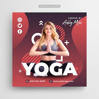 Postagem em mídia social e banner na web para treinamento de fitness de ioga