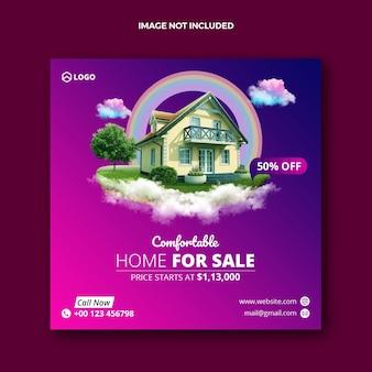 Postagem em mídia social e banner na web para venda de imóveis imobiliários
