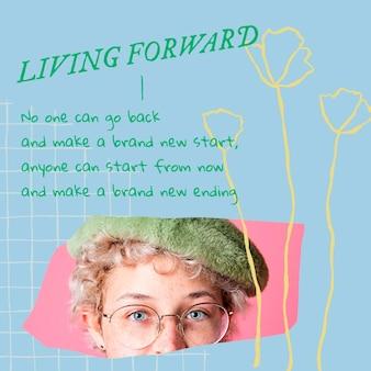 Postagem em mídia social estética floral modelo editável psd com citação motivacional e foto