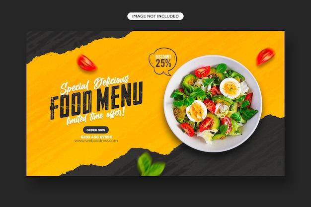 Postagem em mídia social para promoção de alimentos saudáveis e design de modelo de banner da web