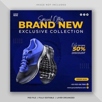 Postagem em mídia social para venda de tênis esportivos e modelo de banner web quadrado