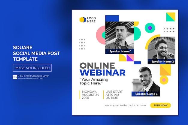 Postagem em mídia social para webinar on-line ou modelo de banner quadrado