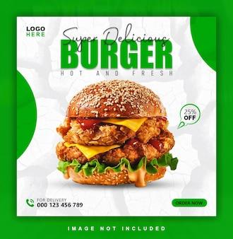 Postagem em mídia social sobre comida para hambúrguer fastfood de restaurante