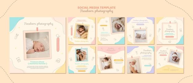 Postagem fofa nas redes sociais para recém-nascidos