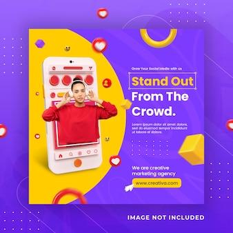 Postagem instagram de conceito criativo de mídia social para modelo de promoção de marketing digital