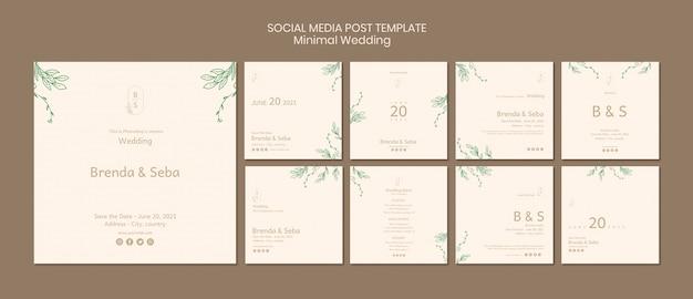 Postagem mínima de mídia social para casamento