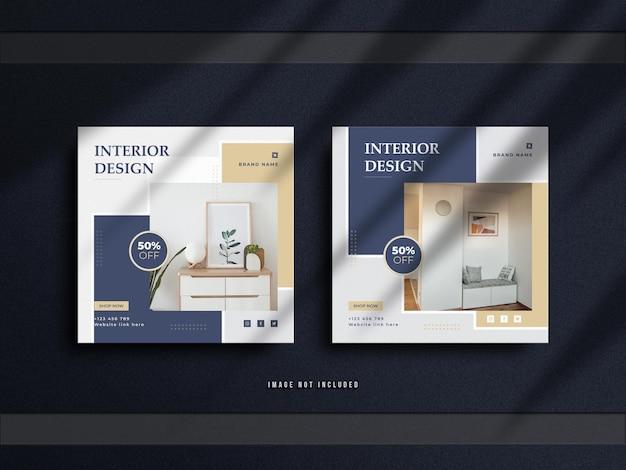 Postagem minimalista no instagram e banner de móveis de interior da square real estate com uma maquete de luxo