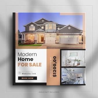 Postagem minimalista no instagram e banner quadrado para móveis de interior