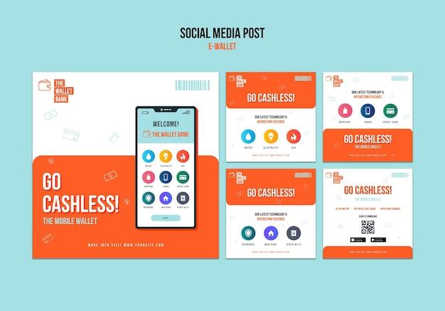 Postagem na mídia social da carteira eletrônica