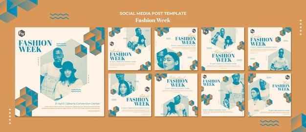 Postagem na mídia social da semana da moda
