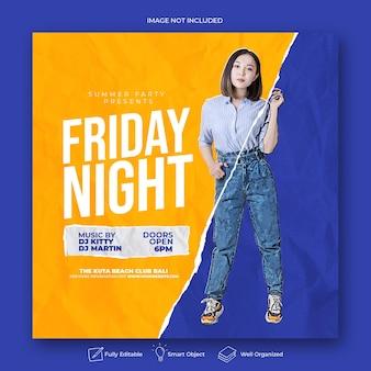 Postagem na mídia social do panfleto da festa do dj na sexta à noite