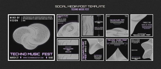 Postagem na mídia social do techno music fest