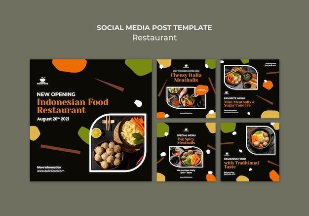 Postagem na mídia social sobre culinária indonésia