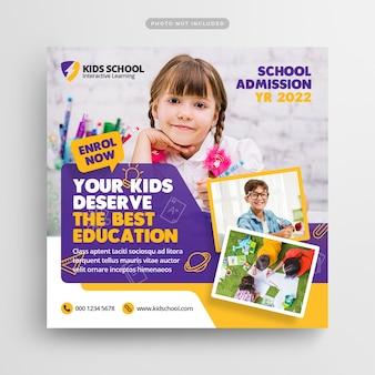 Postagem nas mídias sociais e banner na web para admissão na educação escolar