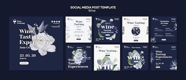 Postagem nas mídias sociais sobre degustação de vinhos