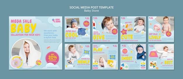Postagem nas redes sociais da loja de bebês