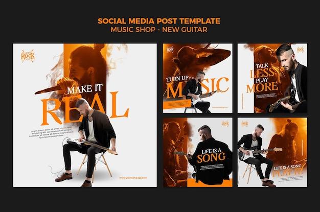 Postagem nas redes sociais da loja de música