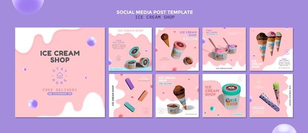 Postagem nas redes sociais da sorveteria