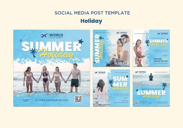 Postagem nas redes sociais de férias
