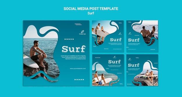Postagem nas redes sociais de surfe e aventura