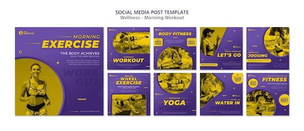 Postagem nas redes sociais de treino matinal de bem-estar