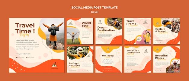 Postagem nas redes sociais de viagens