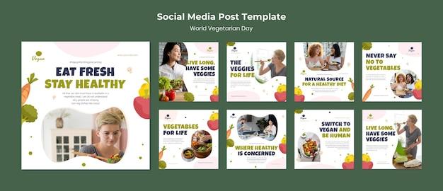Postagem nas redes sociais do dia mundial do vegetariano Psd Premium