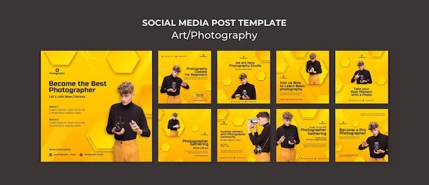 Postagem nas redes sociais para aulas de fotografia