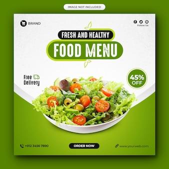 Postagem nas redes sociais sobre comida saudável e restaurante com menu