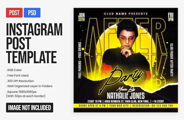 Postagem no instagram da night club dj party e modelo de banner web quadrado