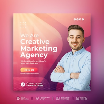 Postagem no instagram de agência de marketing digital para promoção de mídia social em modelo de fundo abstrato