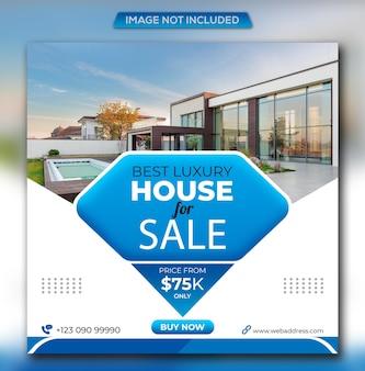 Postagem no instagram de casa de luxo imobiliária e modelo de design de banner quadrado na web