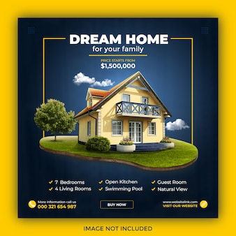 Postagem no instagram de propriedade imobiliária ou modelo de banner web quadrado