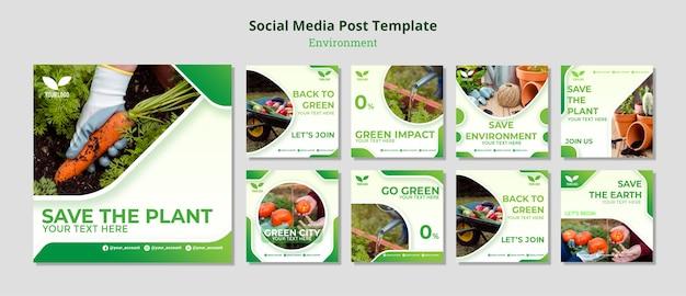 Postagem sobre reciclagem e reutilização ambiental nas mídias sociais