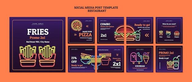 Postagens abstratas de restaurantes em mídias sociais
