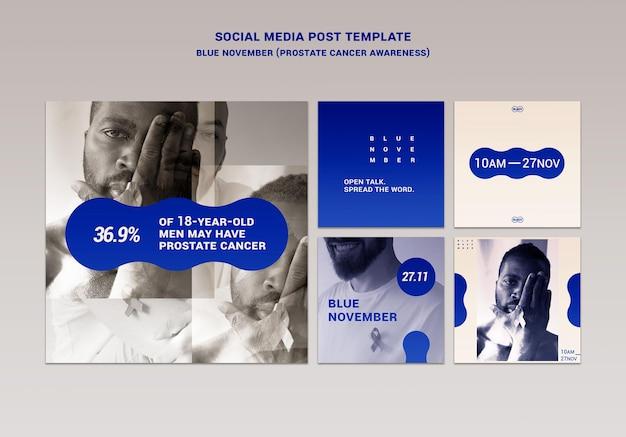 Postagens azuis do instagram de novembro definidas