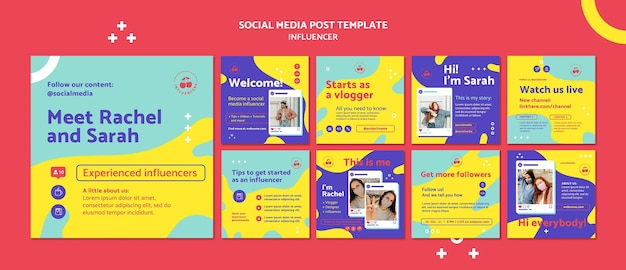 Postagens coloridas de influenciadores nas redes sociais Psd grátis