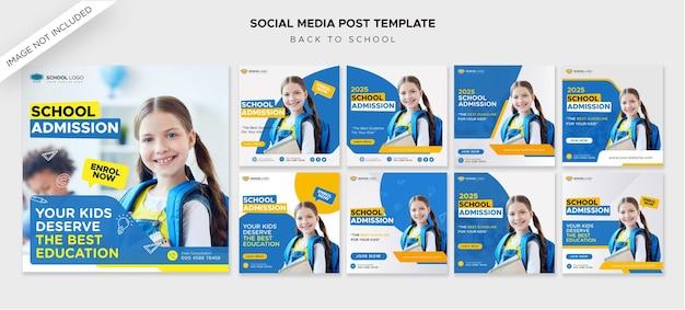 Postagens de admissão de volta às aulas em mídia social ou modelo de flyer quadrado premium psd