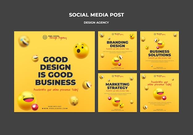 Postagens de agências de design em mídia social